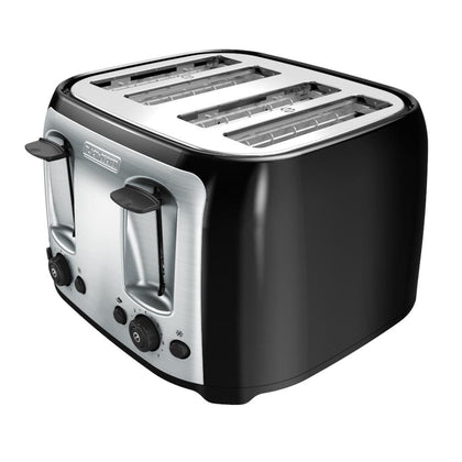 BLACK+DECKER 4-Slice Toaster with Extra-Wide Slots Black/Silver TR1478BD