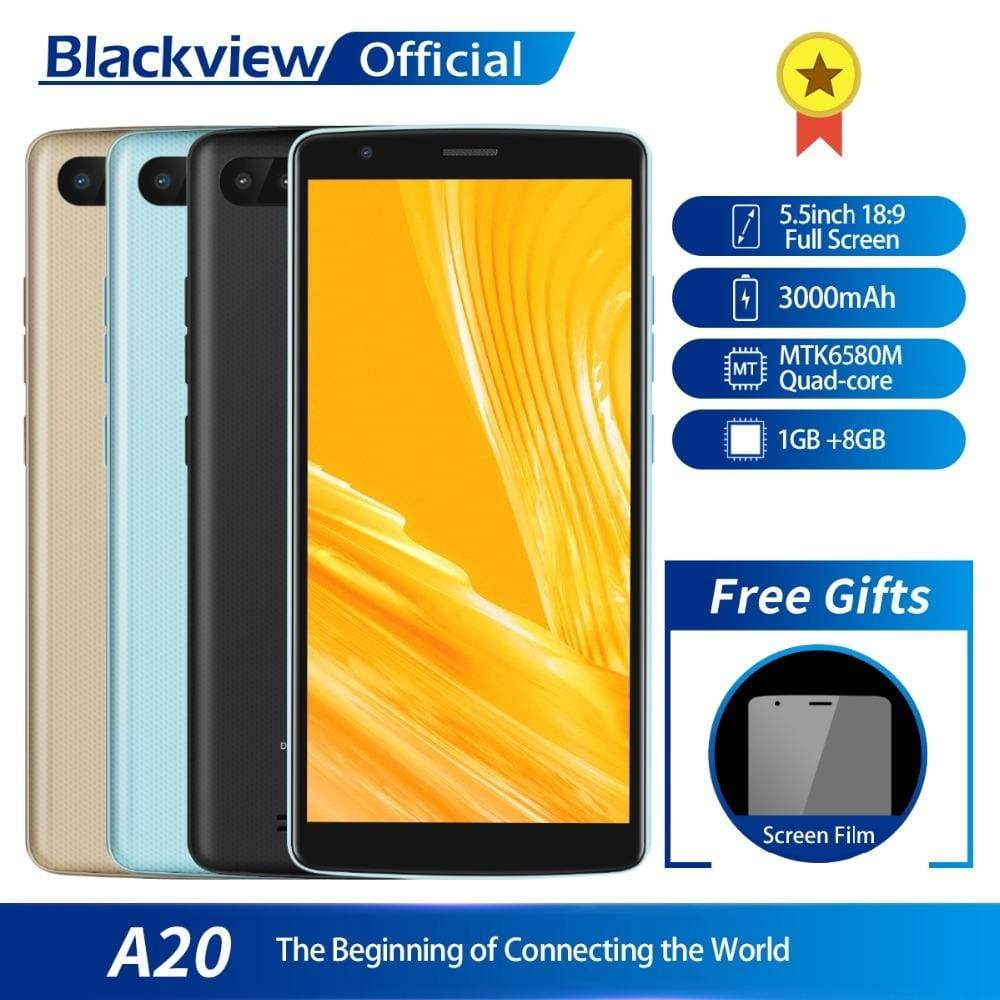Blackview A20 Smartphone 1GB RAM 8GB ROM MTK6580M Quad Core Android GO 5.5inch 18:9 Screen 3G Dual Camera Mobile Phone