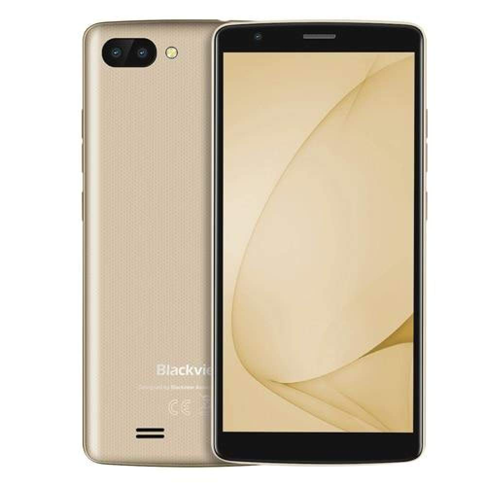 Blackview A20 Smartphone 1GB RAM 8GB ROM MTK6580M Quad Core Android GO 5.5inch 18:9 Screen 3G Dual Camera Mobile Phone - Gold