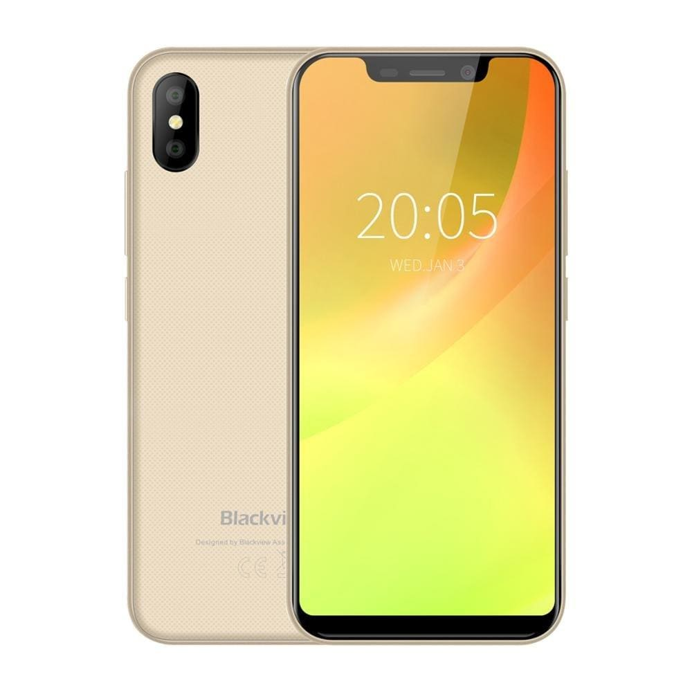 Blackview A30 Smartphone 5.5inch 19:9 Full Screen MTK6580A Quad Core 2GB+16GB Android 8.1 Dual SIM 3G Face ID Mobile Phone - Gold