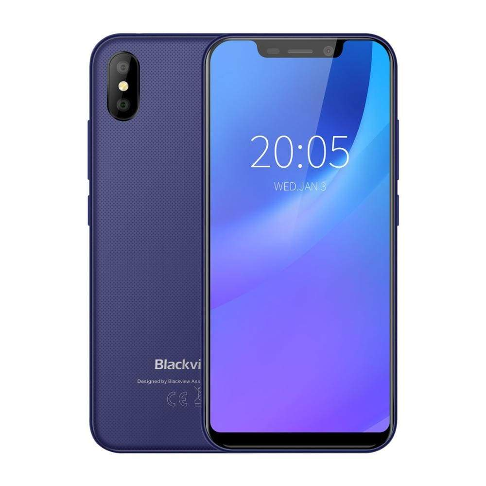 Blackview A30 Smartphone 5.5inch 19:9 Full Screen MTK6580A Quad Core 2GB+16GB Android 8.1 Dual SIM 3G Face ID Mobile Phone - Blue