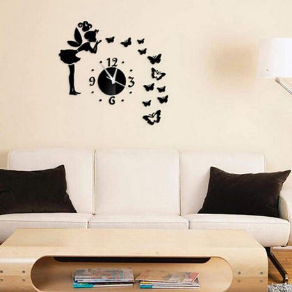 Butterfly & Fairy Modern Mirrors Wall Stickers DIY Acrylic Decals for Home Decoration Black