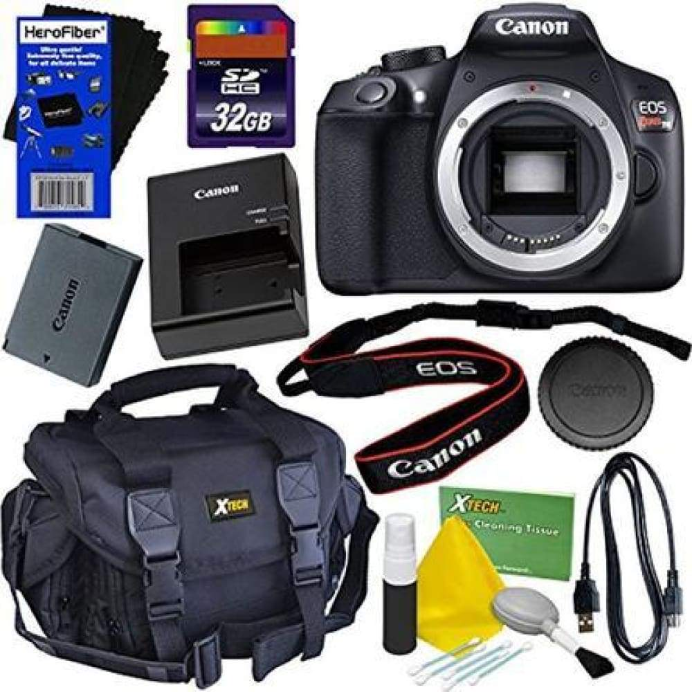 Canon EOS Rebel T6 Digital SLR Camera (Body Only) + 32GB Accessory Kit w/ HeroFiber Ultra Gentle Cleaning Cloth