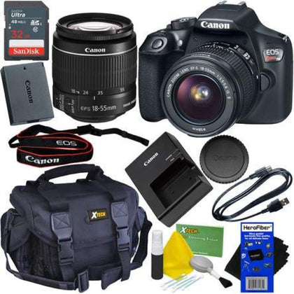 Canon EOS Rebel T6 Digital SLR Camera with EF-S 18-55mm IS II Lens + 32GB Accessory Kit w/HeroFiber Ultra Gentle Cleaning Cloth
