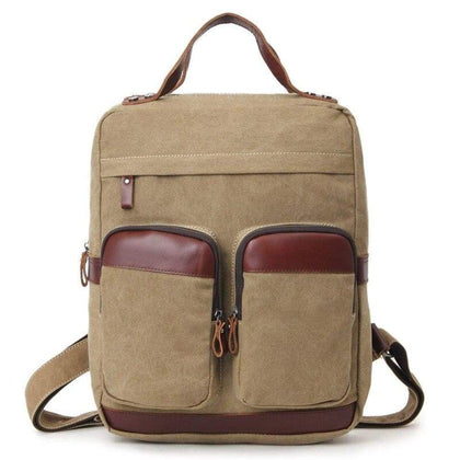 Canvas Backpack Vintage Mens and Womens Shoulder Bag Laptop Satchel Travel School Student TSA Outdoor