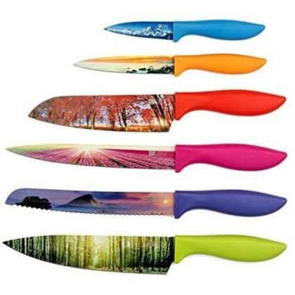 Chefs Vision Kitchen Knife Set in Gift Box Landscape Series Unique Gifts For Her and Him 6 Piece