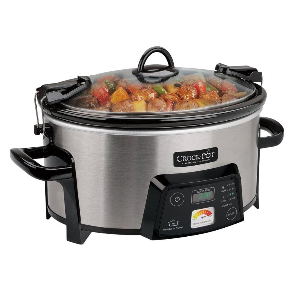 Crock-Pot 6-Quart Cook & Carry Digital Slow Cooker with Heat Saver Stoneware Brushed Stainless Steel (SCCPCTS605-S)