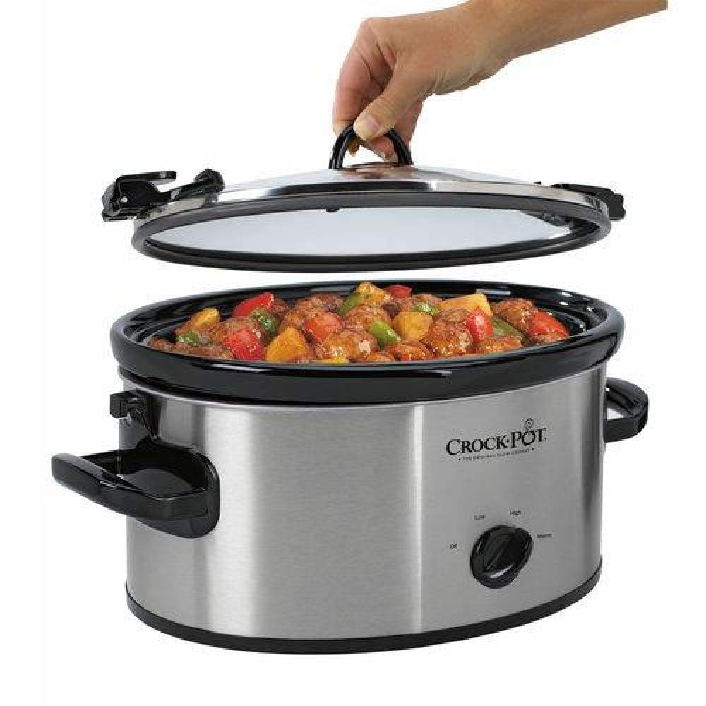 Crock-Pot Cook N Carry Oval Manual Portable Slow Cooker 6-Quart Stainless Steel (SCCPVL600S)