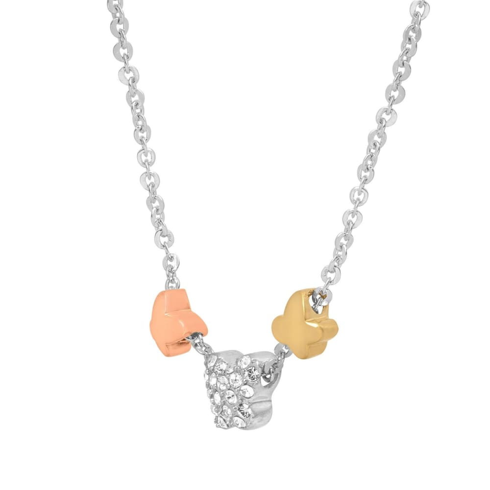 Crystaluxe Butterfly Trio Necklace with Swarovski Crystals in Sterling Silver an