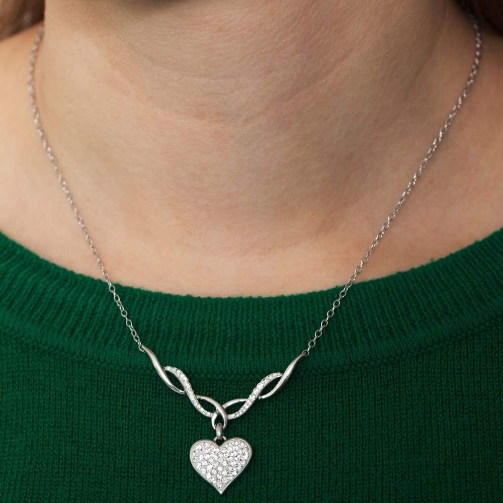 Crystaluxe Heart Necklace with Swarovski Crystal in Sterling Silver