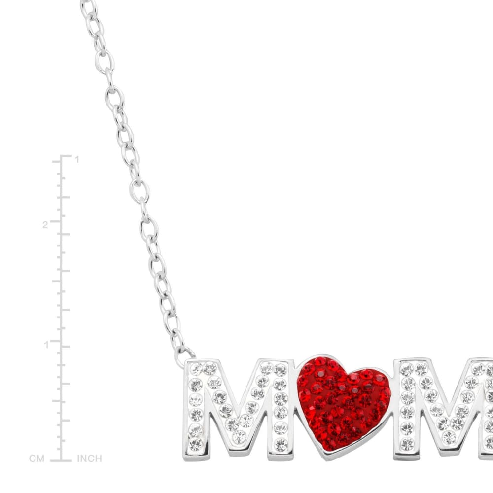 Crystaluxe Mom Red Heart Necklace with Swarovski Crystals in Sterling Silver