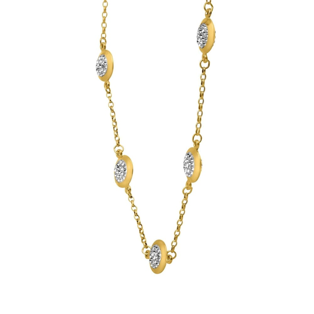 Crystaluxe Station Necklace Swarovski Crystals 10K Gold-Bonded S. Silver 17