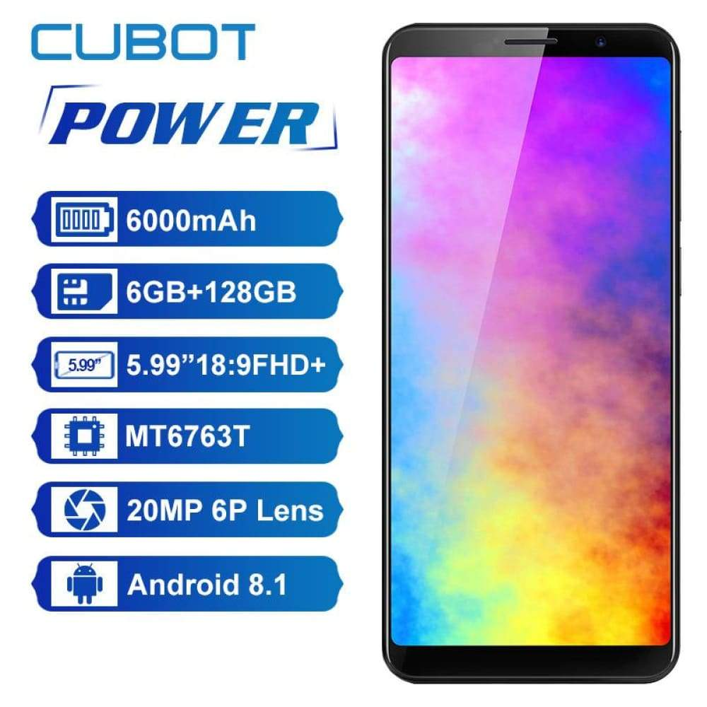 Cubot Power Android 8.1 Helio P23 Octa Core 6000mAh 6GB RAM 128GB ROM 5.99 Inch FHD+ 6P lens Smartphone 20.0MP Celular 4G LTE