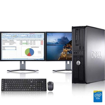 Dell Optiplex 3.0 GHz Core 2 Duo PC 8GB 1 TB HDD Windows 10 Home x64 17 Dual Monitor Wireless Mouse & Keyboard