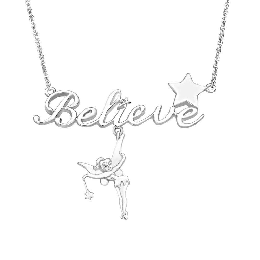 Disneys Tinker Bell Believe Necklace with Crystal in Sterling Silver