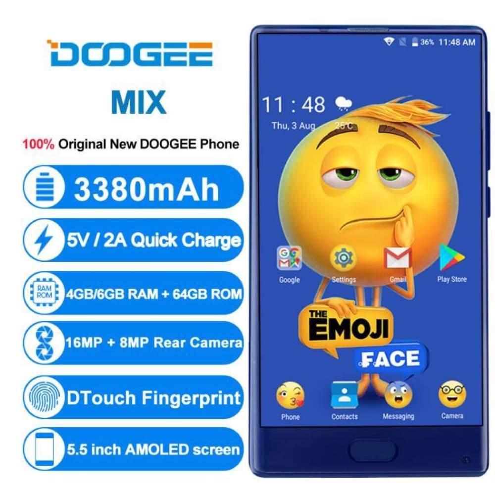 Doogee Mix 6GB 64GB Mobile Phone MT6757CD Octa Core 5.5AMOLED Helio P25 Android 7.0 5MP+16MP Dual Cam 3380mAh OTG Touch ID