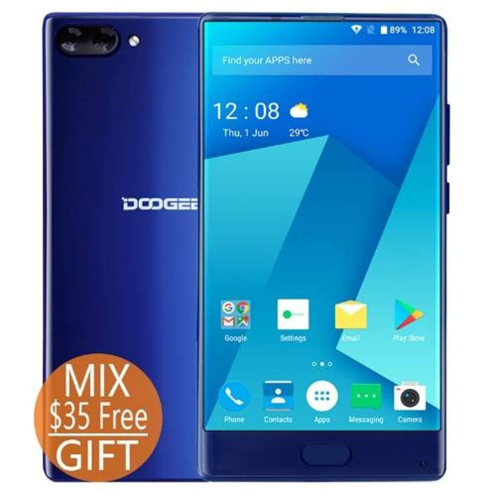 DOOGEE MIX 6GB+64GB bezel-less Smartphone Dual Camera 5.5 AMOLED MTK Helio P25 Octa Core mobile phones Android 7 In Stock - Blue / Add Smart