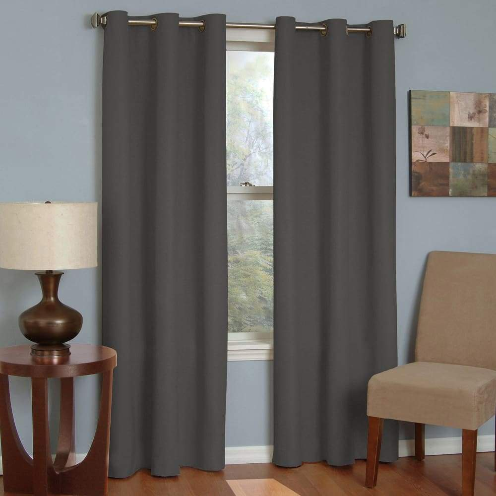 eclipse Thermaback Blackout 1-Panel Microfiber Window Curtain - Smoke / 42X84