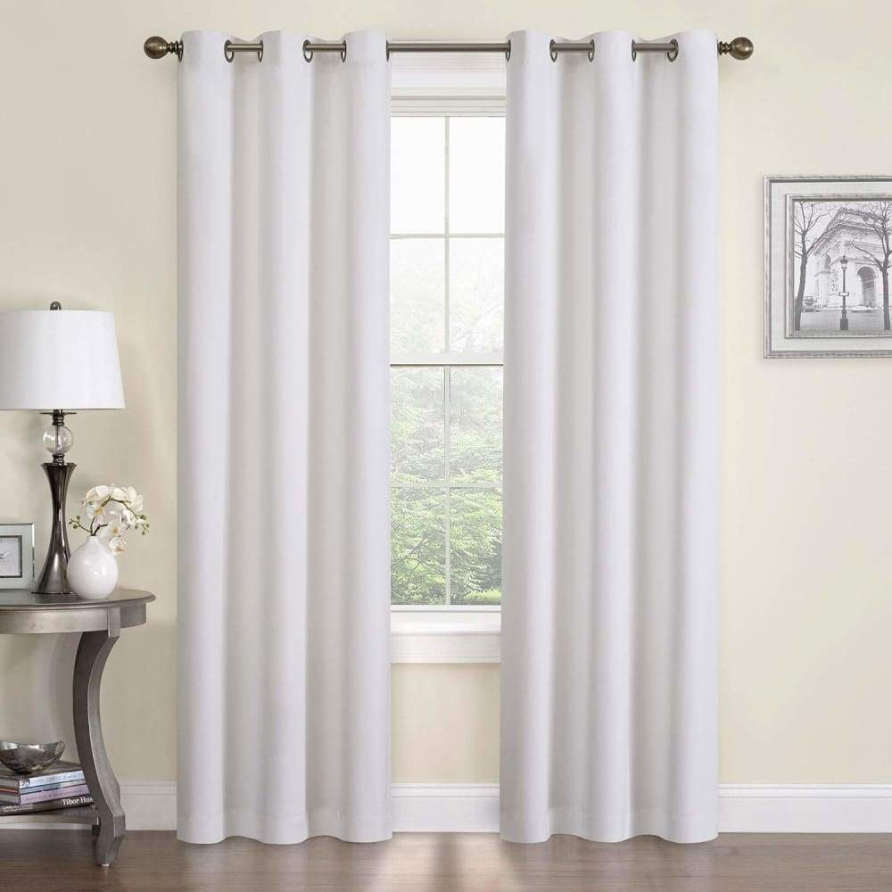 eclipse Thermaback Blackout 1-Panel Microfiber Window Curtain - White / 42X84