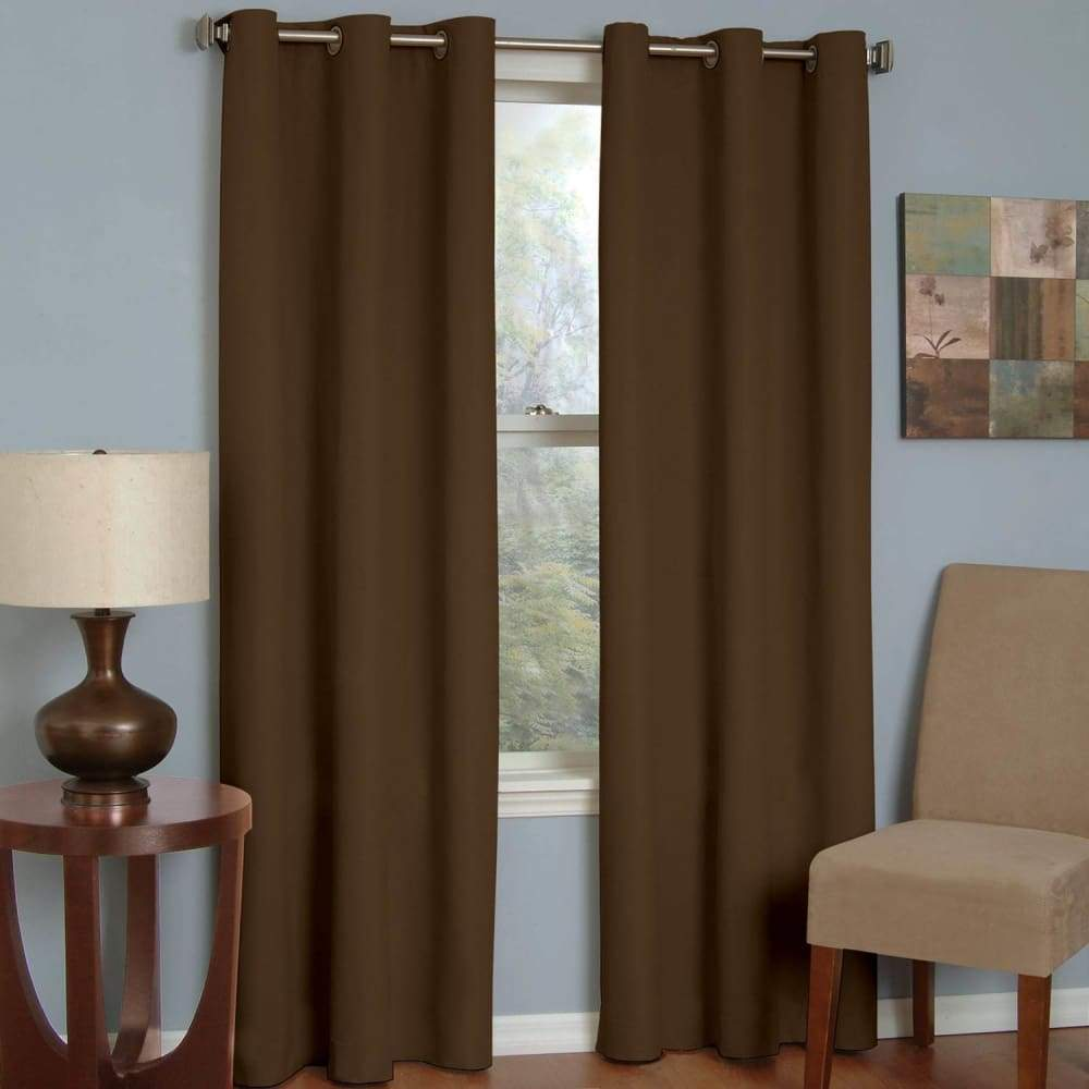 eclipse Thermaback Blackout 1-Panel Microfiber Window Curtain - Chocolate / 42X84