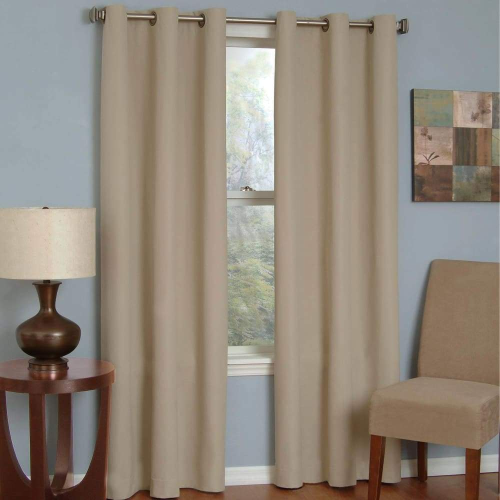 eclipse Thermaback Blackout 1-Panel Microfiber Window Curtain - Beige / 42X84