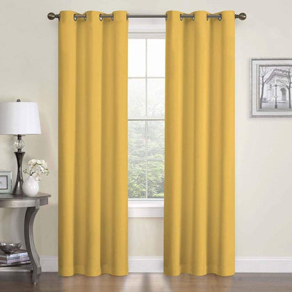 eclipse Thermaback Blackout 1-Panel Microfiber Window Curtain - Gold / 42X84