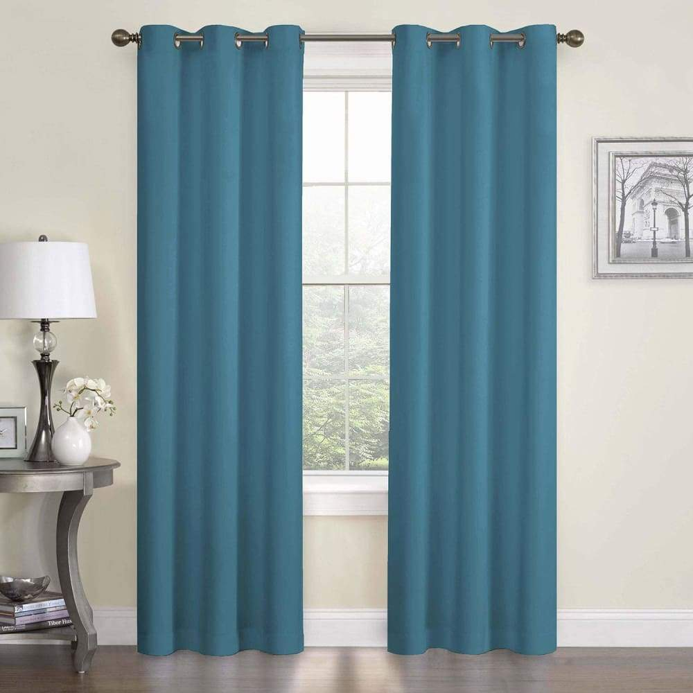 eclipse Thermaback Blackout 1-Panel Microfiber Window Curtain - Peacock / 42X84
