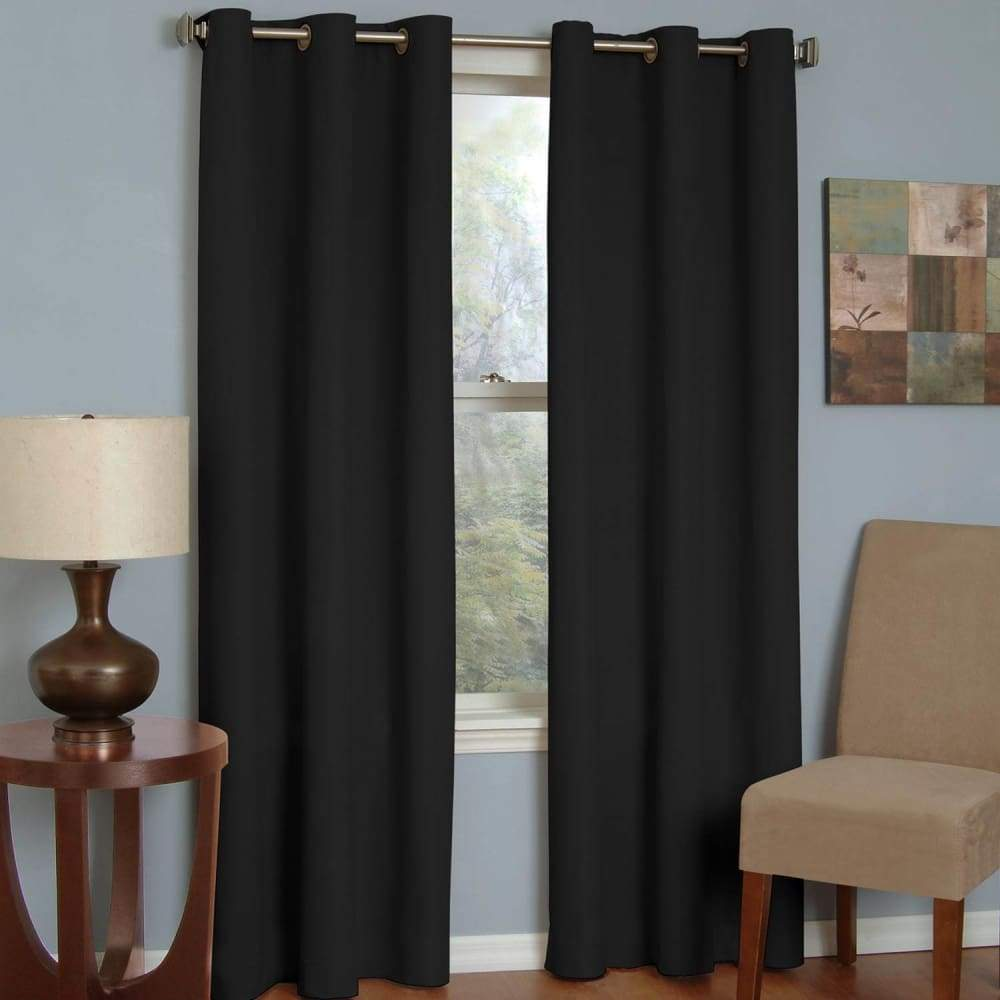 eclipse Thermaback Blackout 1-Panel Microfiber Window Curtain - Black / 42X84