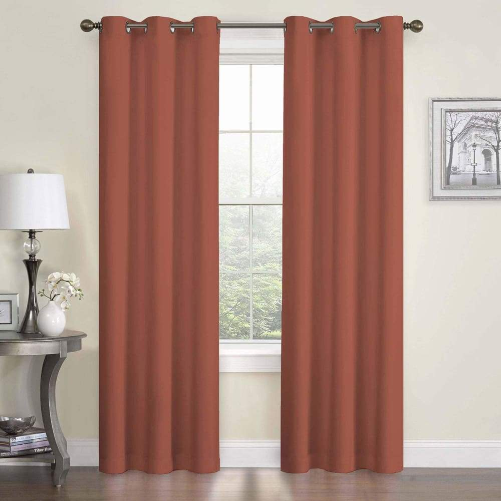 eclipse Thermaback Blackout 1-Panel Microfiber Window Curtain - Brick / 42X84