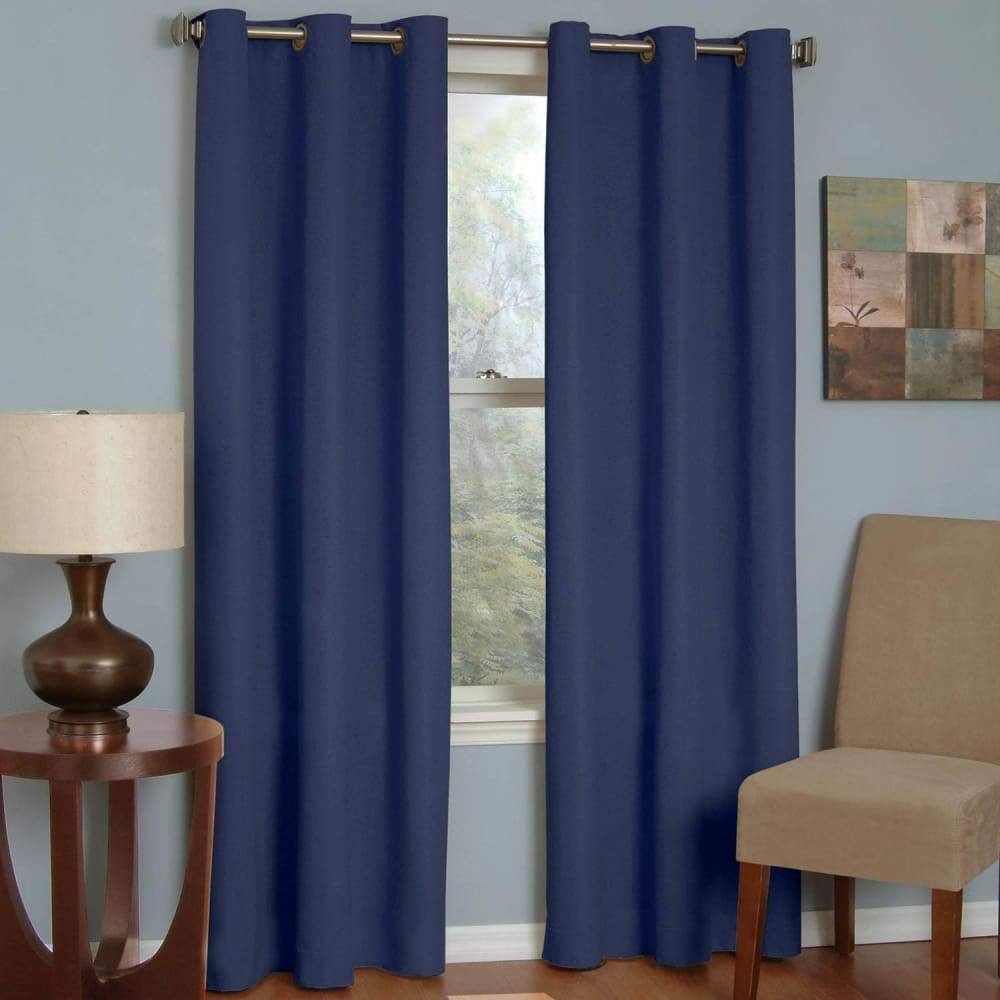 eclipse Thermaback Blackout 1-Panel Microfiber Window Curtain - Navy / 42X84