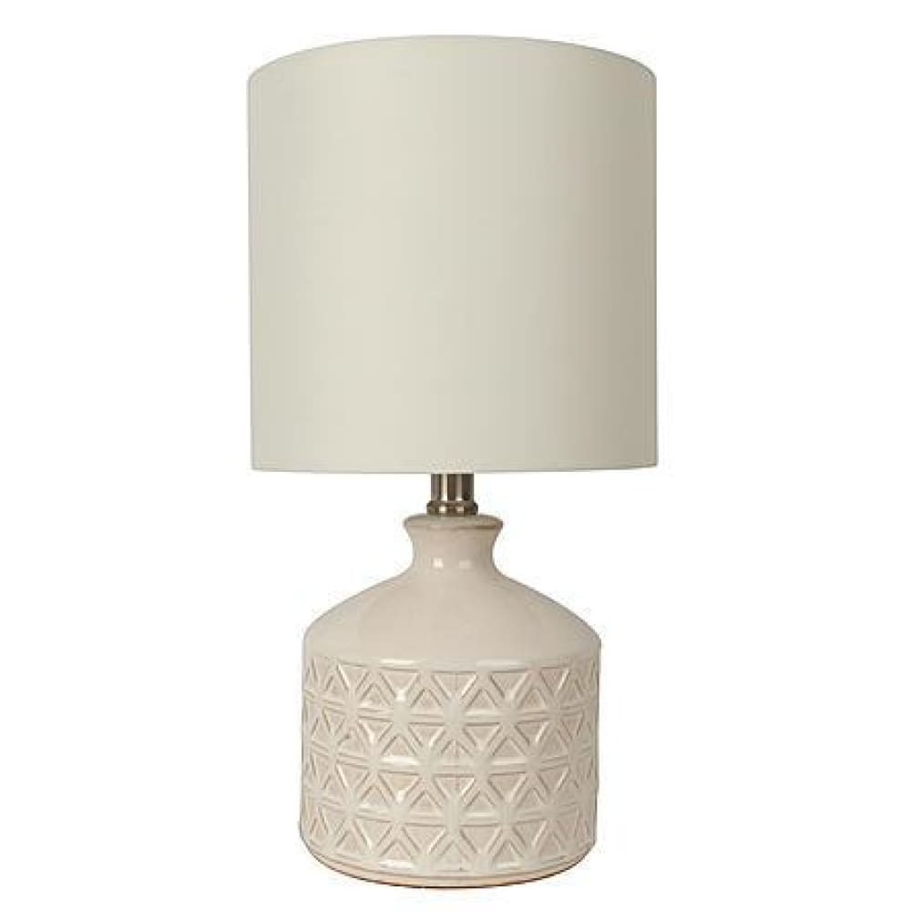 Essential Home Kinship Collection 15.25 x 8 Cream Etched Ceramic Accent Lamp Off White