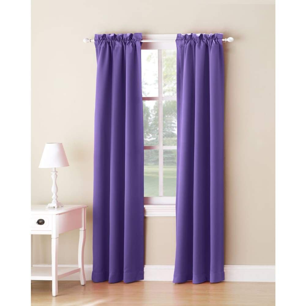 Essential Home Logan 2pk Room Darkening Window Panels - 63 in. / 26 / Purple