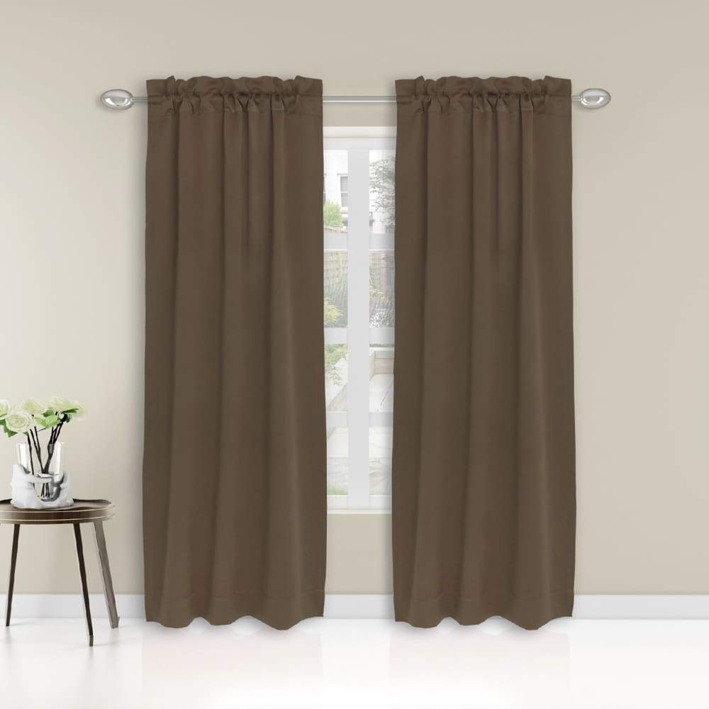 Essential Home Logan 2pk Room Darkening Window Panels - 63 in. / 26 / Mocha