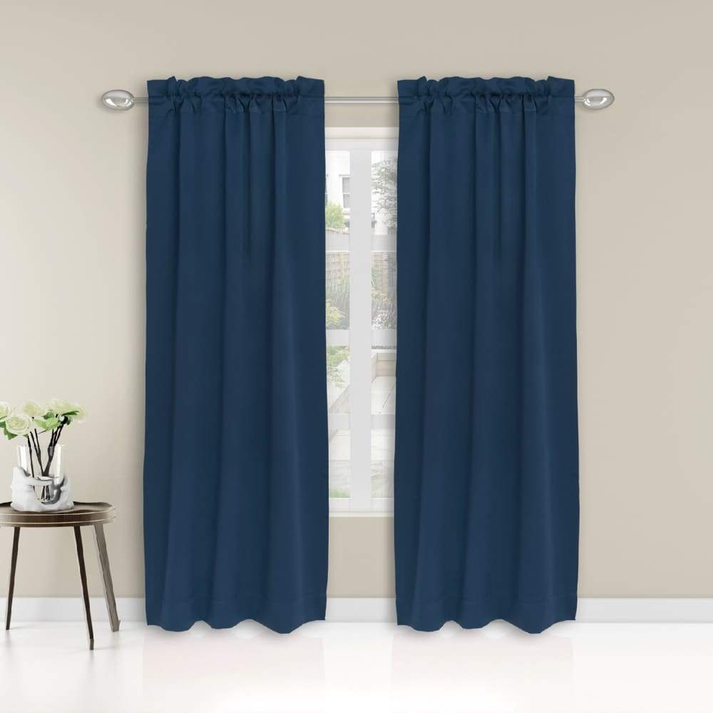 Essential Home Logan 2pk Room Darkening Window Panels - 63 in. / 26 / Blue