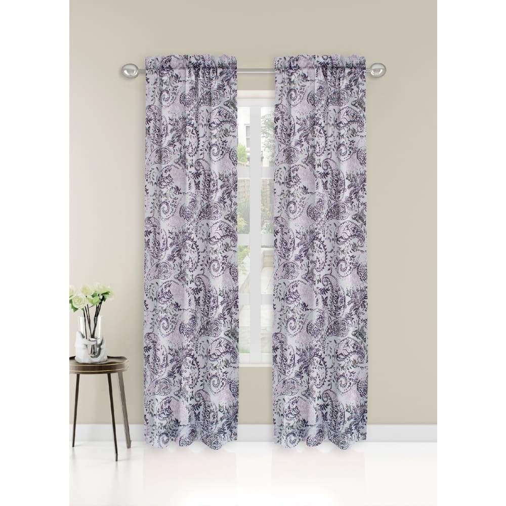 Essential Home Logan 2pk Room Darkening Window Panels - 63 in. / 26 / Purple Paisley