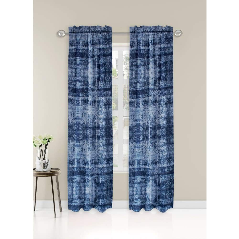 Essential Home Logan 2pk Room Darkening Window Panels - 63 in. / 26 / Indigo Print
