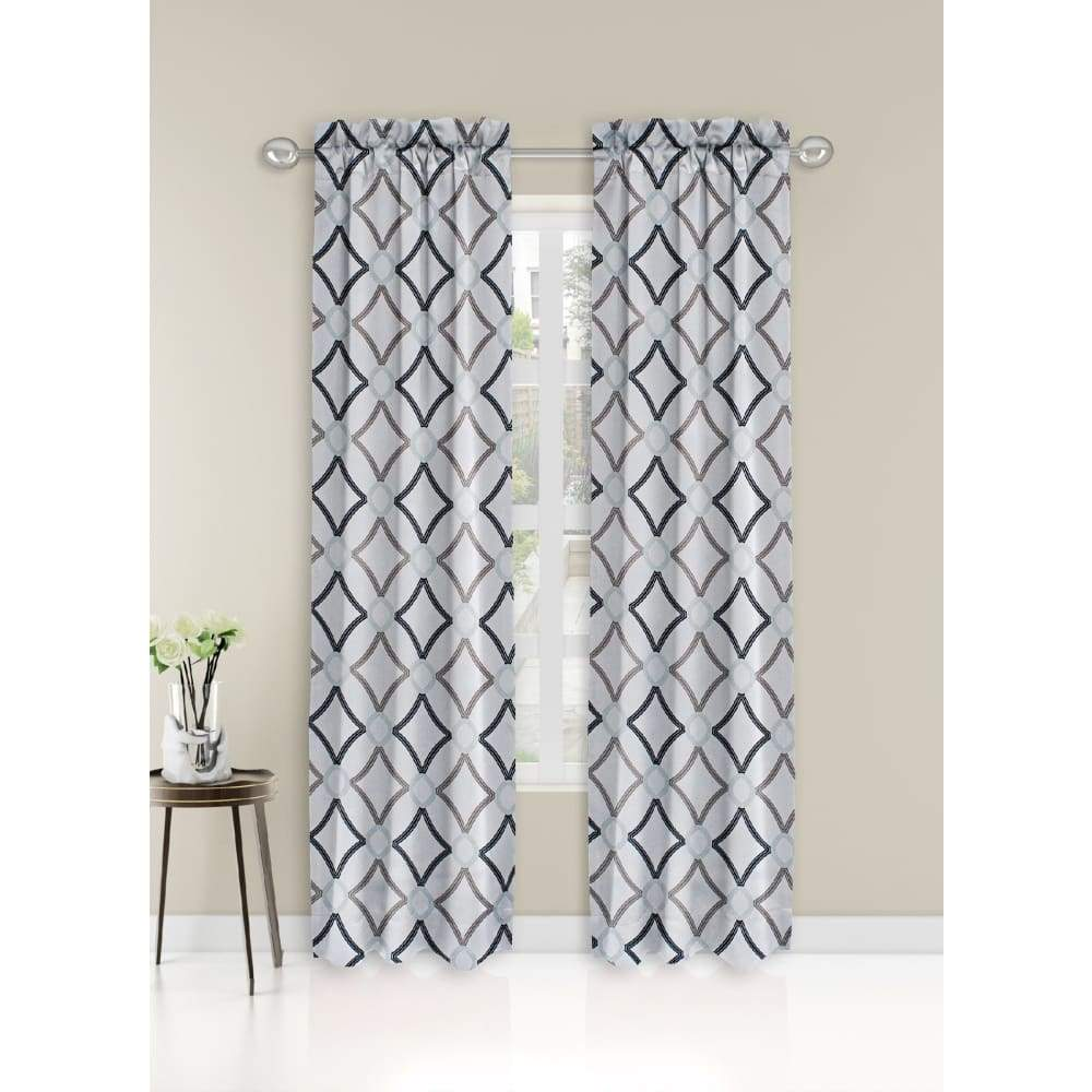 Essential Home Logan 2pk Room Darkening Window Panels - 63 in. / 26 / Grey Fret