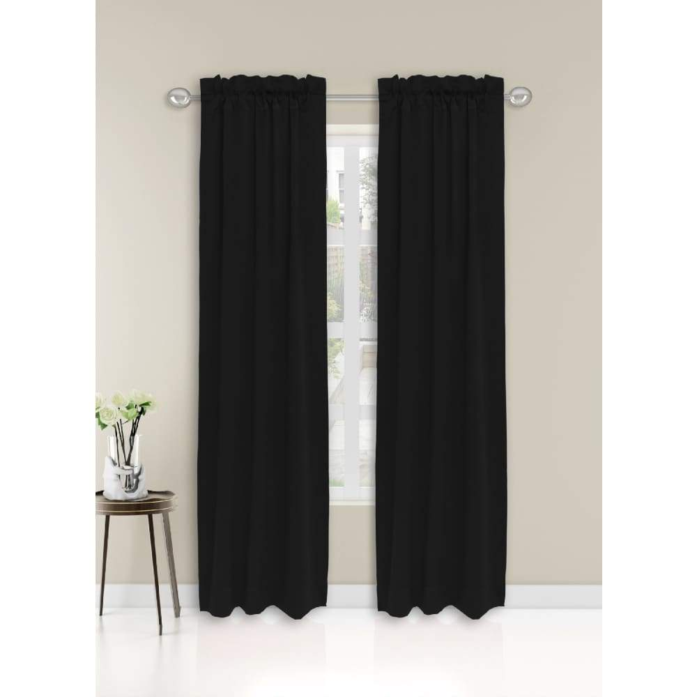 Essential Home Logan 2pk Room Darkening Window Panels - 63 in. / 26 / Black
