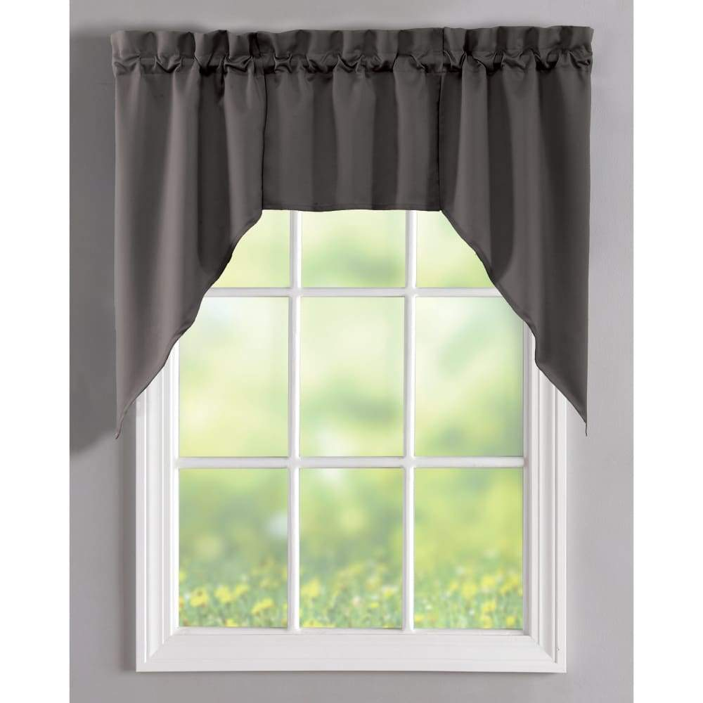 Essential Home Mix and Match Solid 3 Pc. Jabot Valance Set - 60 x 36 in. / Charcoal