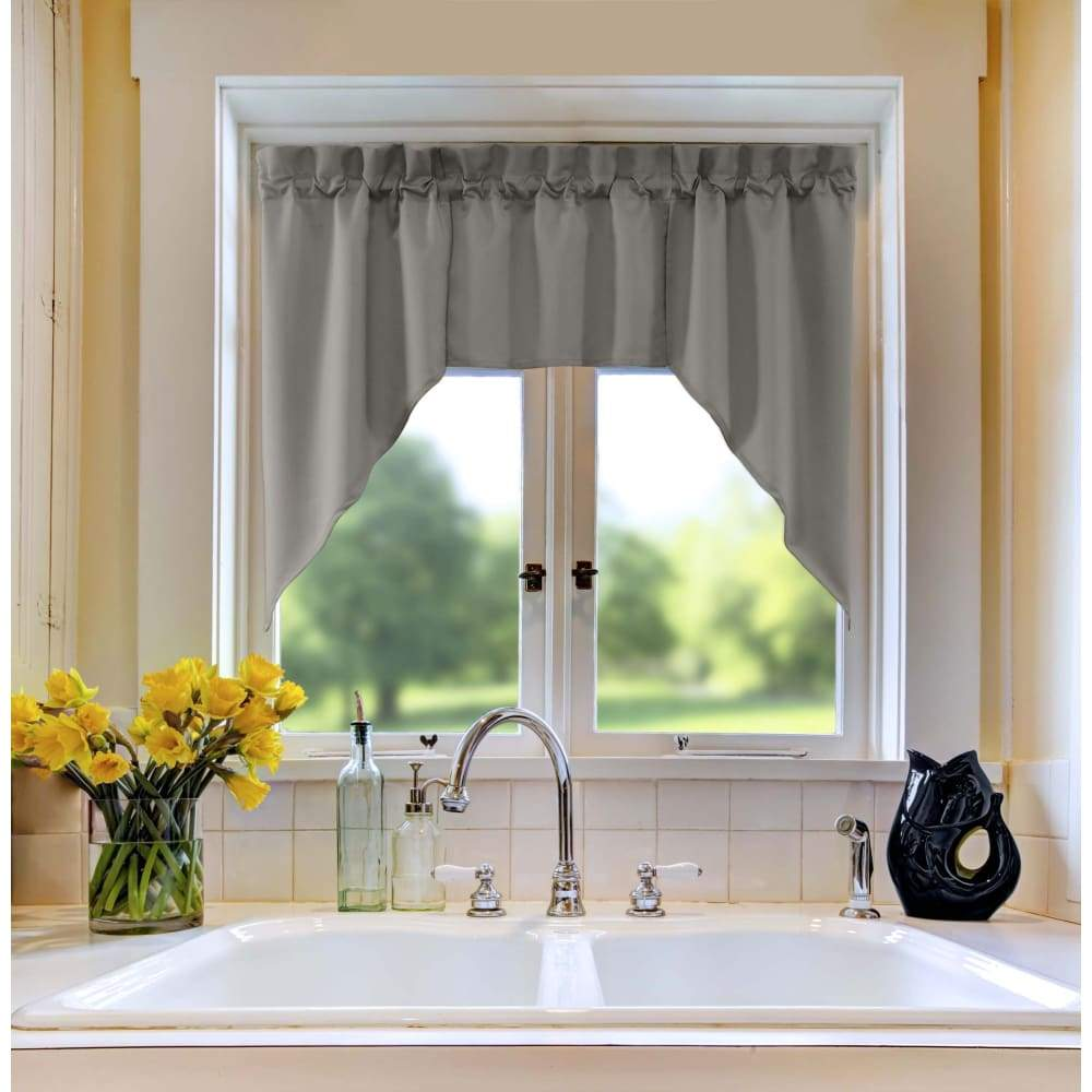 Essential Home Mix and Match Solid 3 Pc. Jabot Valance Set - 60 x 36 in. / Gray