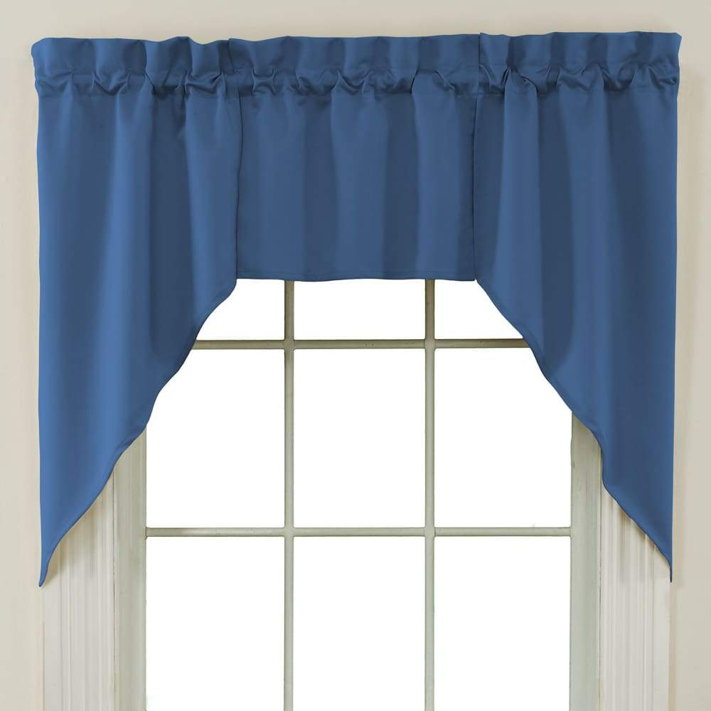 Essential Home Mix and Match Solid 3 Pc. Jabot Valance Set - 60 x 36 in. / Blue