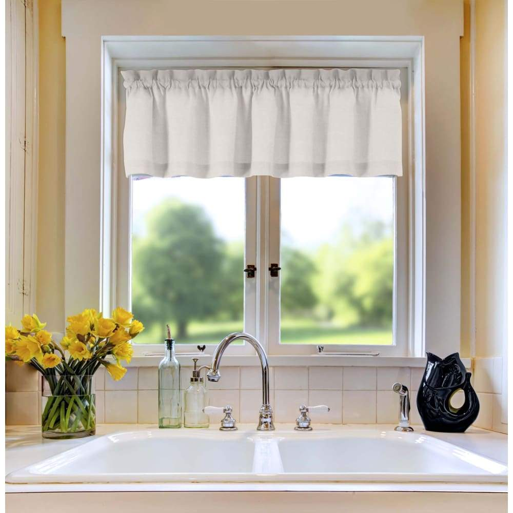 Essential Home Mix and Match Solid Window Valance 60 x 16 - in. / White