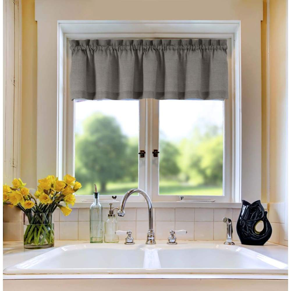 Essential Home Mix and Match Solid Window Valance 60 x 16 - in. / Gray