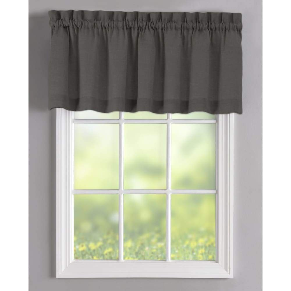 Essential Home Mix and Match Solid Window Valance 60 x 16 - in. / Charcoal