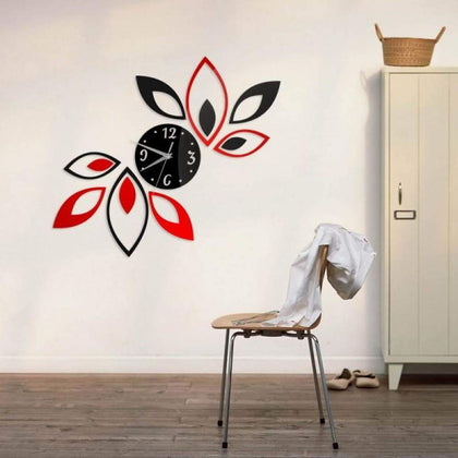 Fashion Home Decoration Lotus DIY 3D Acrylic Mirror Clock Wall Sticker Red & Black