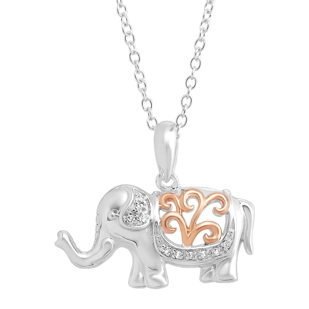 Filigree Elephant Pendant with Diamonds in Sterling Silver w Rose Gold 18