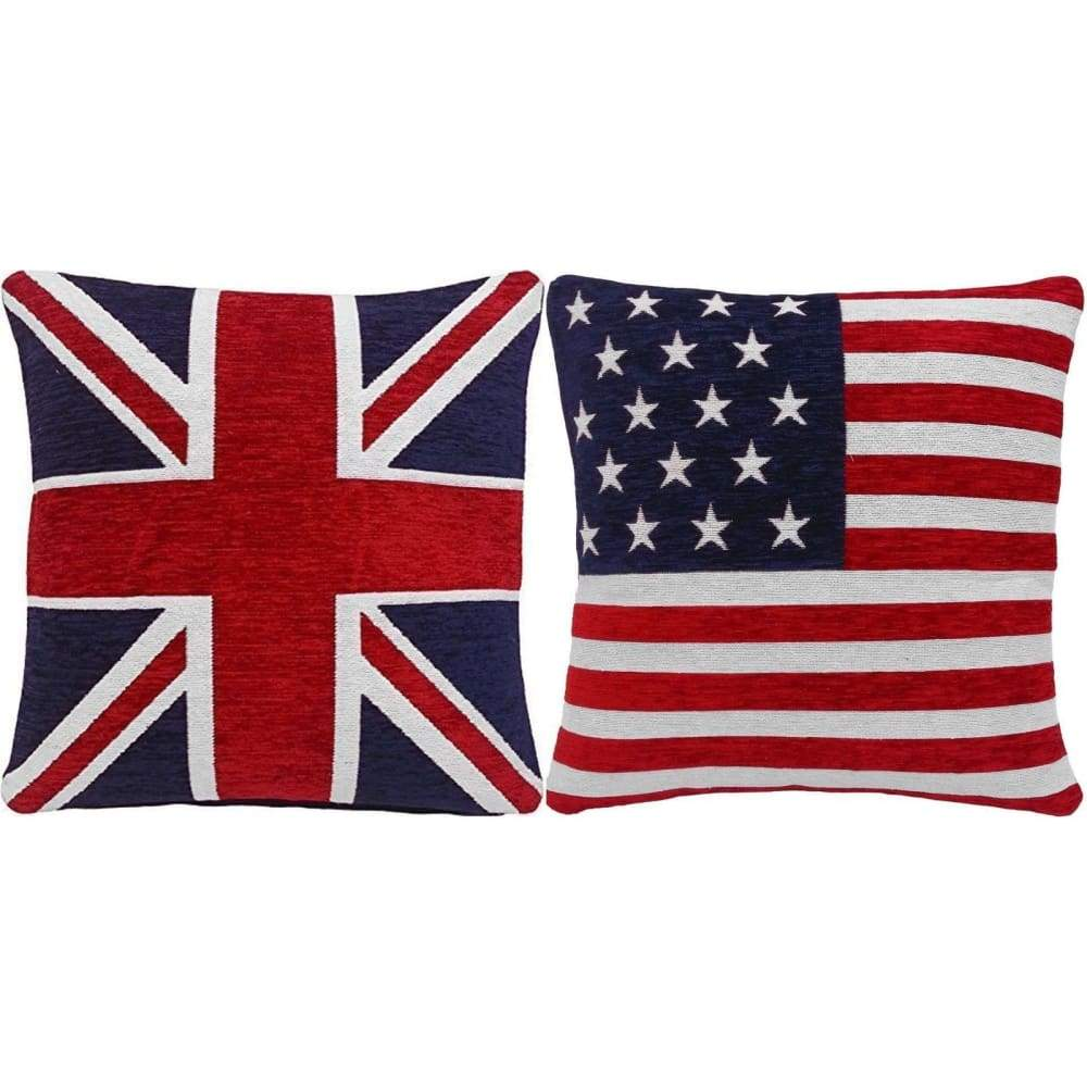 FILLED UNION JACK AND AMERICAN FLAG CHENILLE RED WHITE BLUE 18 CUSHIONS