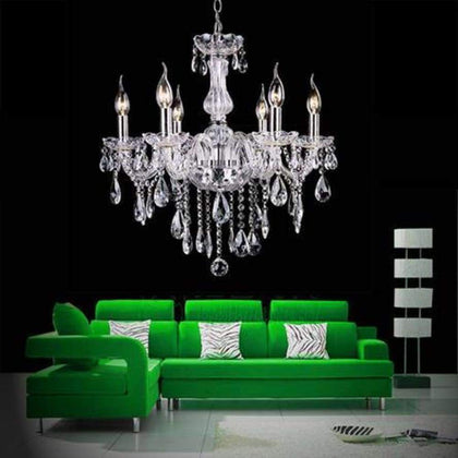 FIRSTBUY Crystal Lamp Fixture Ceiling Lighting Pendant 6 Lights Chain Candle Chandelier