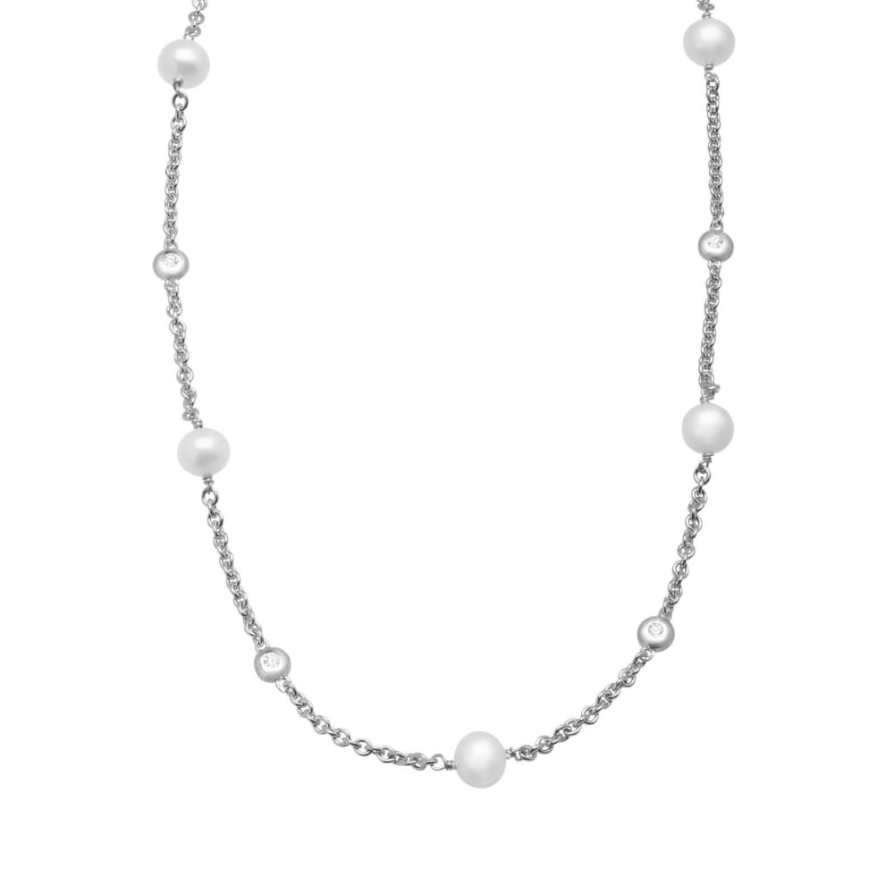 Freshwater Pearl and 1/4 ct Created White Sapphire Station Necklace in Sterling