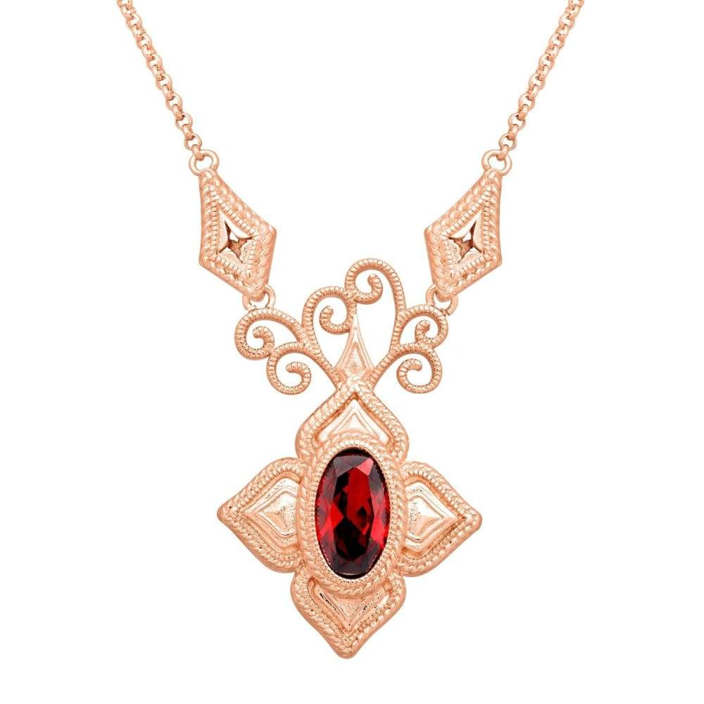 Garnet Cubic Zirconia Filigree Necklace in 14K Rose Gold-Plated Brass
